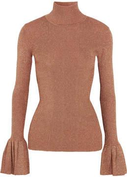 Carven Metallic Ribbed-knit Turtleneck Sweater - Antique rose
