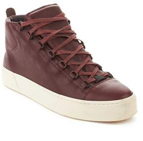 Balenciaga Men's Arena Leather High Top Sneaker Shoes Burgundy.