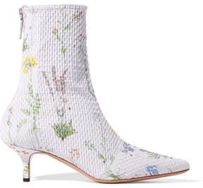 Altuzarra Elliot Floral-print Matelassé Ankle Boots - Lilac