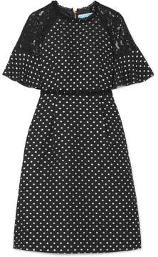 Draper James Shadow Lace-paneled Polka-dot Jacquard Dress - Black