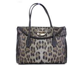Roberto Cavalli Firenze Black Leather Leopard Print Tote Shoulder Bag