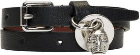 Alexander McQueen Black and Silver Skull Double Wrap Bracelet