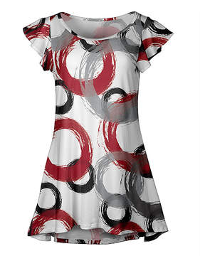 Lily White & Red Circle Flutter-Sleeve Dress - Women & Plus