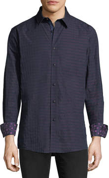 English Laundry Tonal Gingham Sport Shirt, Navy