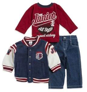 Nannette Baby Boy's Three-Piece Stripe-Trimmed Bomber Jacket, All-Stars Graphic Tee and Jeans Set