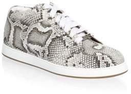 Jimmy Choo Leather Snakeskin-Print Sneakers