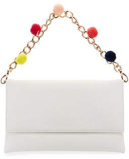 Neiman Marcus Pompom Chain Clutch Bag