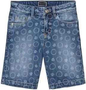 Versace Bolli All Over Print Denim Shorts