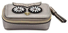 Neiman Marcus Owl Face Small Faux-Leather Pill Case