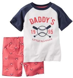 Carter's Infant & Toddler Boys 2-Piece Baseball T-Shirt & Short Set 3m