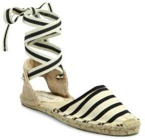 Soludos Classic Striped Ankle-Wrap Espadrilles
