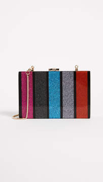 Milly Glitter Stripe Box Clutch