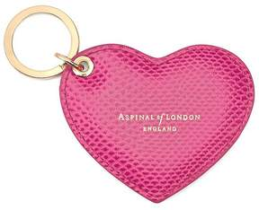 Aspinal of London Heart Key Ring In Raspberry Lizard