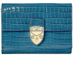 Aspinal of London Small Mayfair Purse In Deep Shine Topaz Small Croc