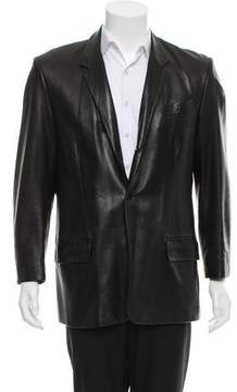 Calvin Klein Collection Leather Three-Button Blazer