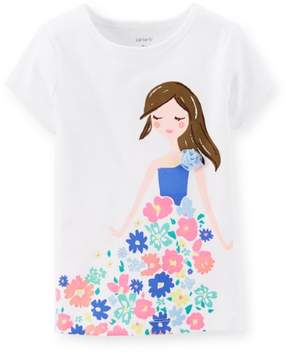 Carter's Baby Clothing Outfit Girls Flowery Girl Tee T-shirt Ivory