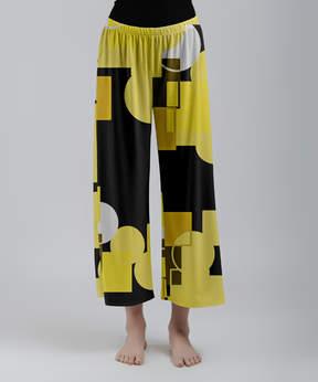 Lily Yellow & Black Geometric Palazzo Crop Pants - Women & Plus