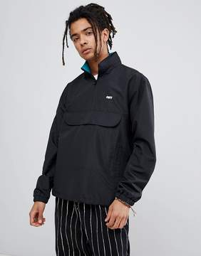 Obey Runaround Track Overhead Jacket With Funnel Neck In Black