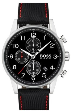 BOSS Men's Navigator Chronograph Leather Strap Watch, 44Mm