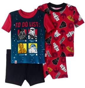 Star Wars Lego Boys' 4 Piece Pajama Short Set