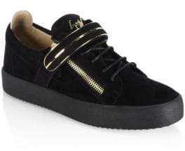 Giuseppe Zanotti Low Single Bar Suede Sneakers