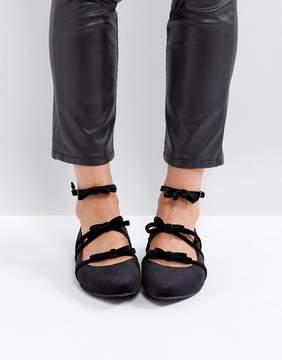 New Look Velvet Multi Strap Pointed Flat Shoe