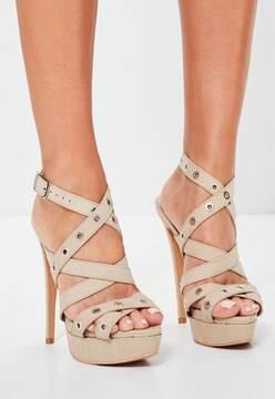 Missguided Nude Eyelet Cross Strap Platform Sandals