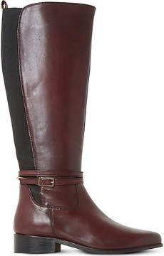 Dune Ladies Burgundy Classic Taro Buckled Leather Boots