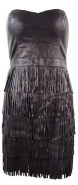 GUESS Women's Faux Leather Fringe Dress (4, Black)