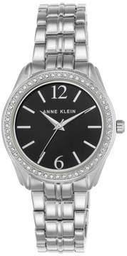 Anne Klein Crystal Bezel Silvertone Round Black Dial Bracelet Watch
