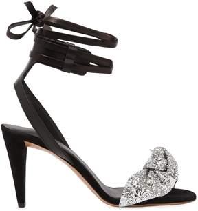 Isabel Marant 90mm Akynn Glittered Velvet Bow Sandals