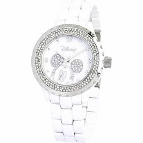 Disney Mickey Mouse Women's Enamel Watch,White Bracelet