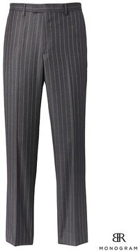 Banana Republic Standard Monogram Charcoal Pinstripe Italian Wool Suit Trouser