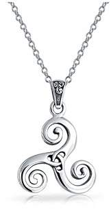 Celtic Bling Jewelry Swirl Triquetra Trinity Knot Pendant Sterling Silver Necklace 18 Inches.