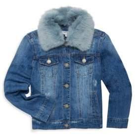 Splendid Toddler's, Little Girl's & Girl's Faux Fur Collar Denim Jacket