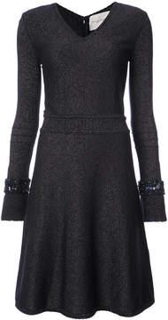 Carolina Herrera glitter v-neck knit dress