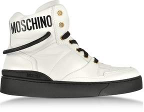 Moschino Optic White Nappa Leather High Top Sneakers