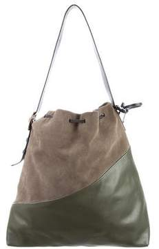 Marni Suede & Leather Diagonal Drawstring Bag