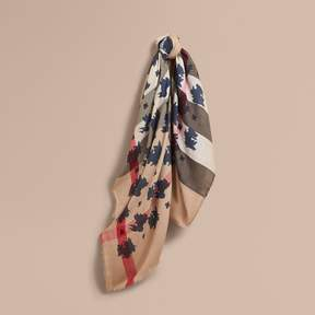 Burberry Beasts Print and Check Silk Wool Blend Square Scarf