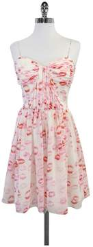 Erin Fetherston Erin White, Pink & Red Lip Print Dress