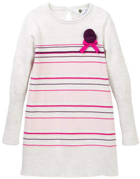 Petit Lem Striped Metallic Sweater Dress (Toddler & Little Girls)