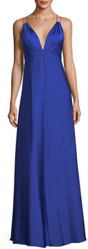 Aidan Mattox Deep V-Neck Double-Strap Satin Evening Gown