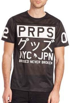 PRPS Japanese Character Perforated T-Shirt