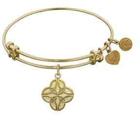 Celtic Stipple Finish Brass Four Knot Angelica Bangle Bracelet, 7.25.
