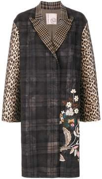 Antonio Marras floral embroidery checked coat