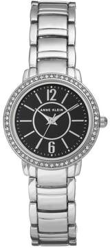Anne Klein Crystal Bezel Silvertone Round Black Dial Modern Bracelet Watch