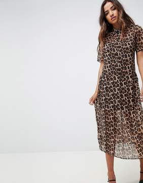 ASOS DESIGN pleated midi shirt dress in leopard print