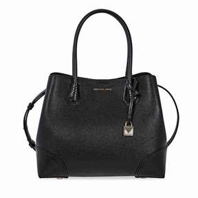 Michael Kors Mercer Pebbled Leather Shoulder Bag - Black