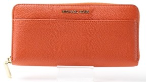 Michael Kors Orange Gold Pebbled Leather Mercer Clutch Wallet - ORANGES - STYLE
