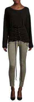 RtA Colette Distressed Lace-Up Cotton Sweatshirt